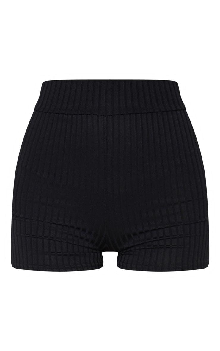 Janice Black Ribbed Shorts 6