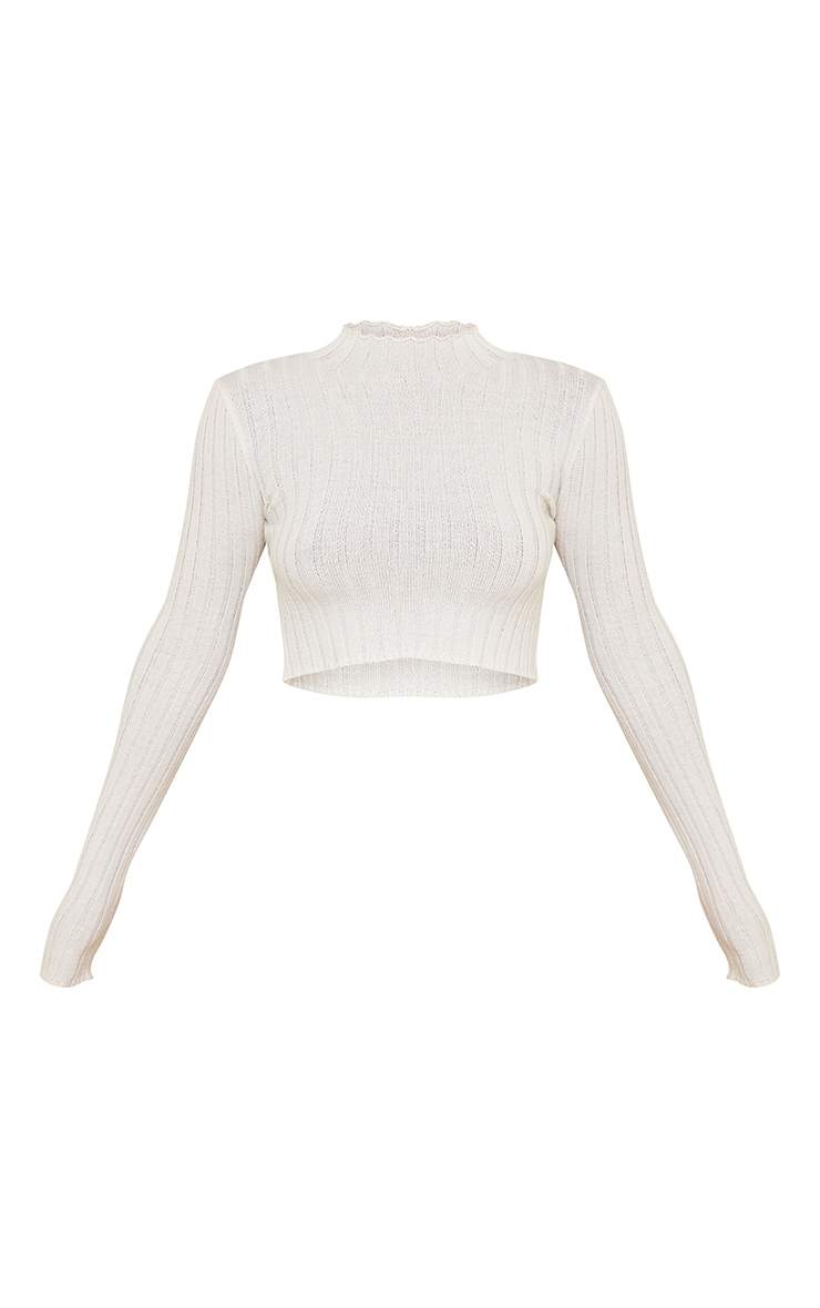 Cream Wide Rib Knitted Long Sleeve Crop Jumper 5