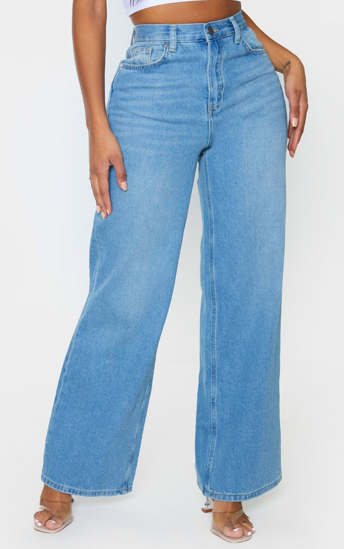 Shape Vintage Wash Denim Wide Leg Jeans 2