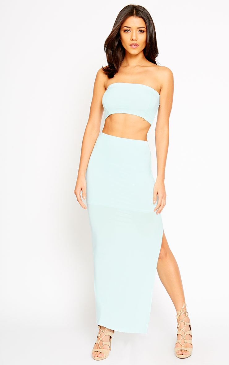 Helsa Mint Slinky Split Maxi Skirt 5