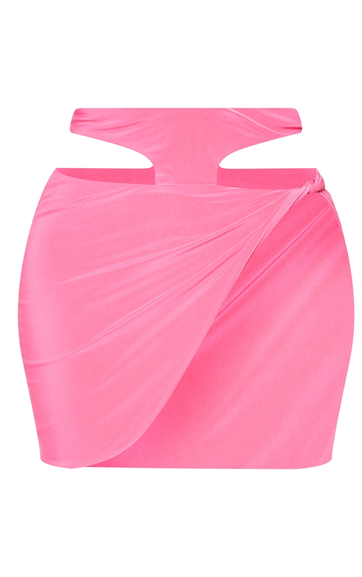 Shape Hot Pink Slinky Knot Side Cut Out Bodycon Skirt 7