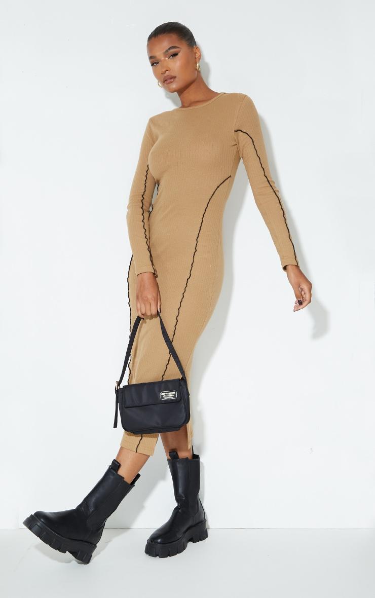 Camel Rib Binding Seam Detail Split Hem Midaxi Dress 1