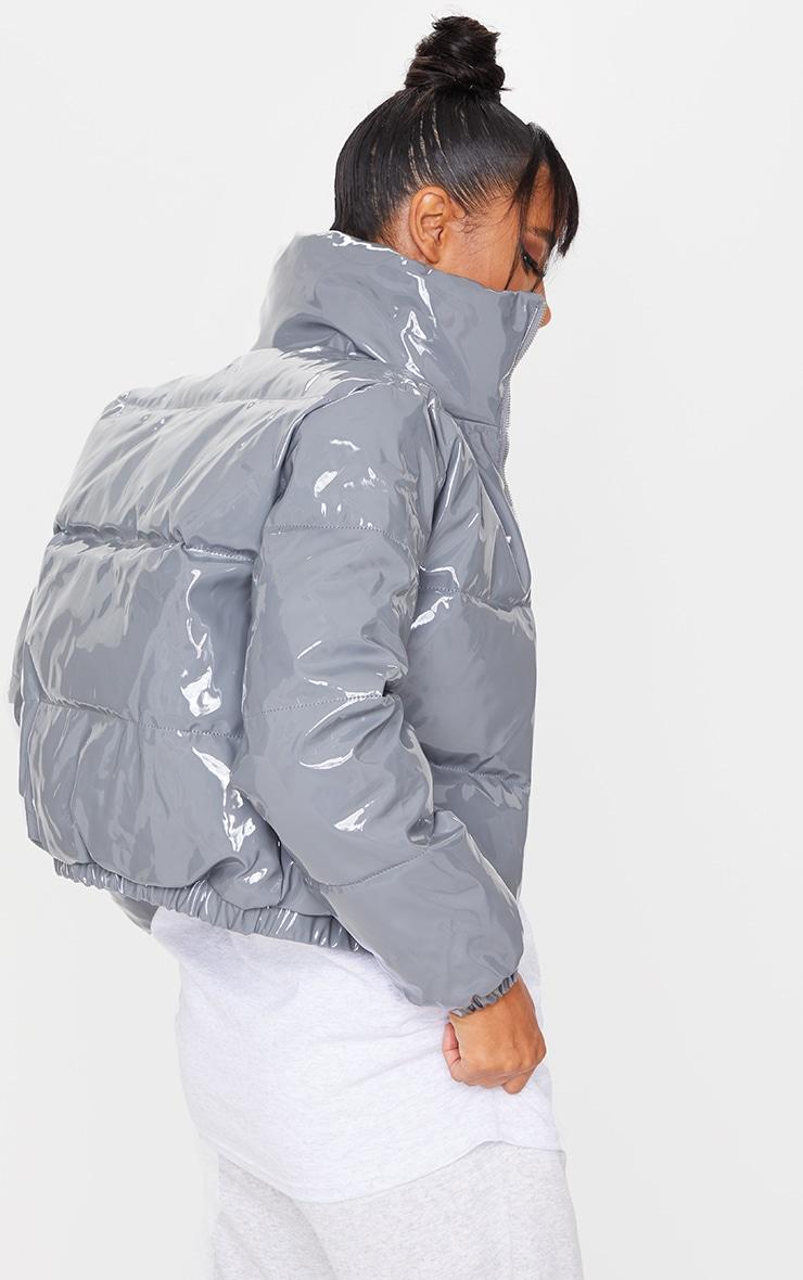 Dark Grey Vinyl Puffer Coat 2