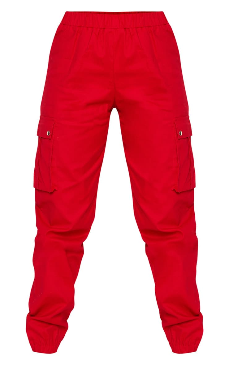 Petite Red Pocket Detail Cargo Trousers 3