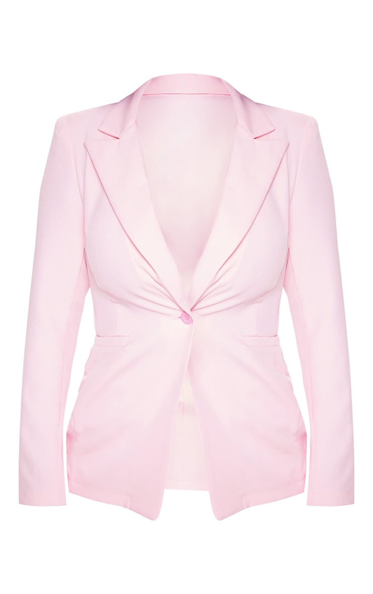 Pink Fitted Suit Woven Blazer 3