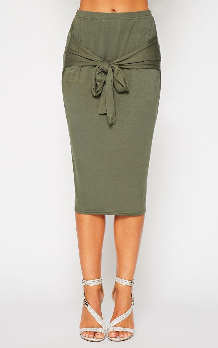Raemona Khaki Tie Midi Skirt 2