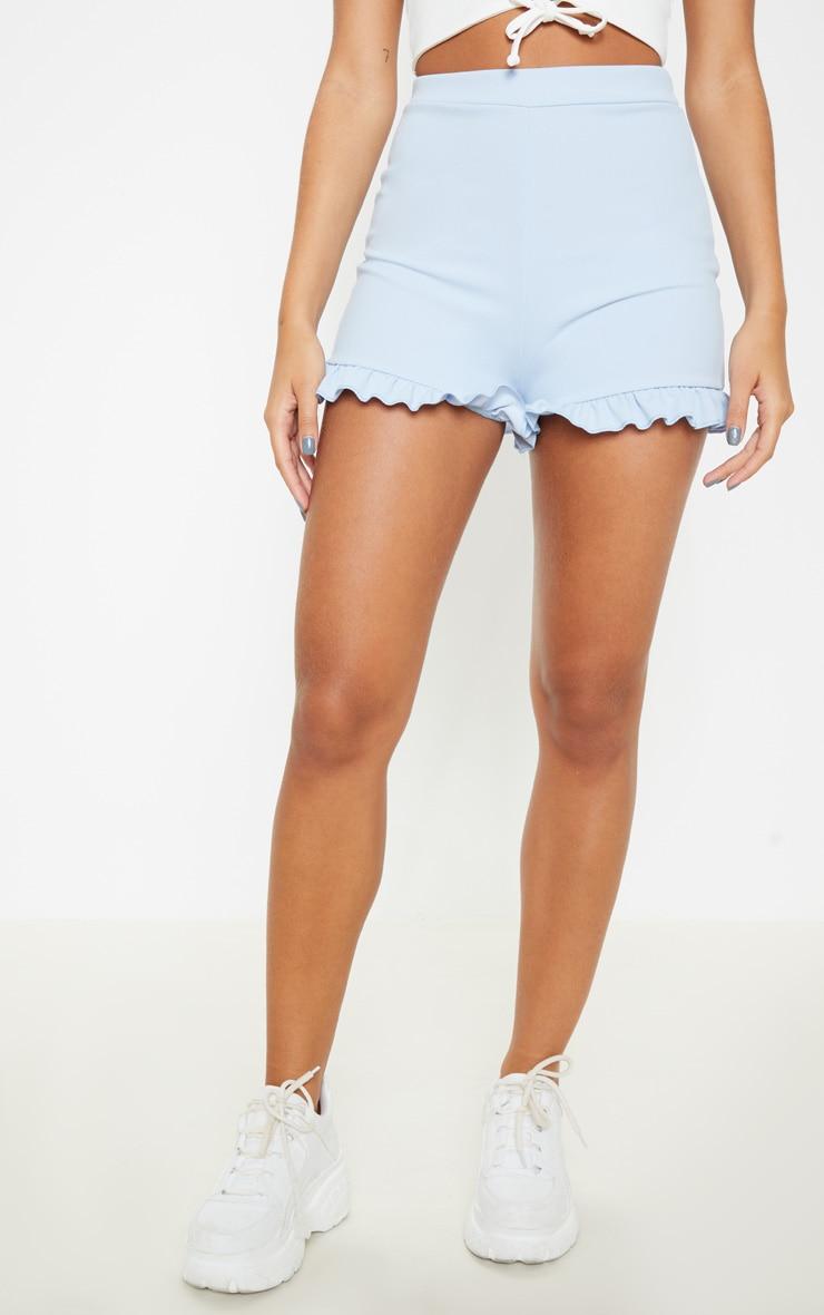 Baby Blue Frill Hem Shorts  4