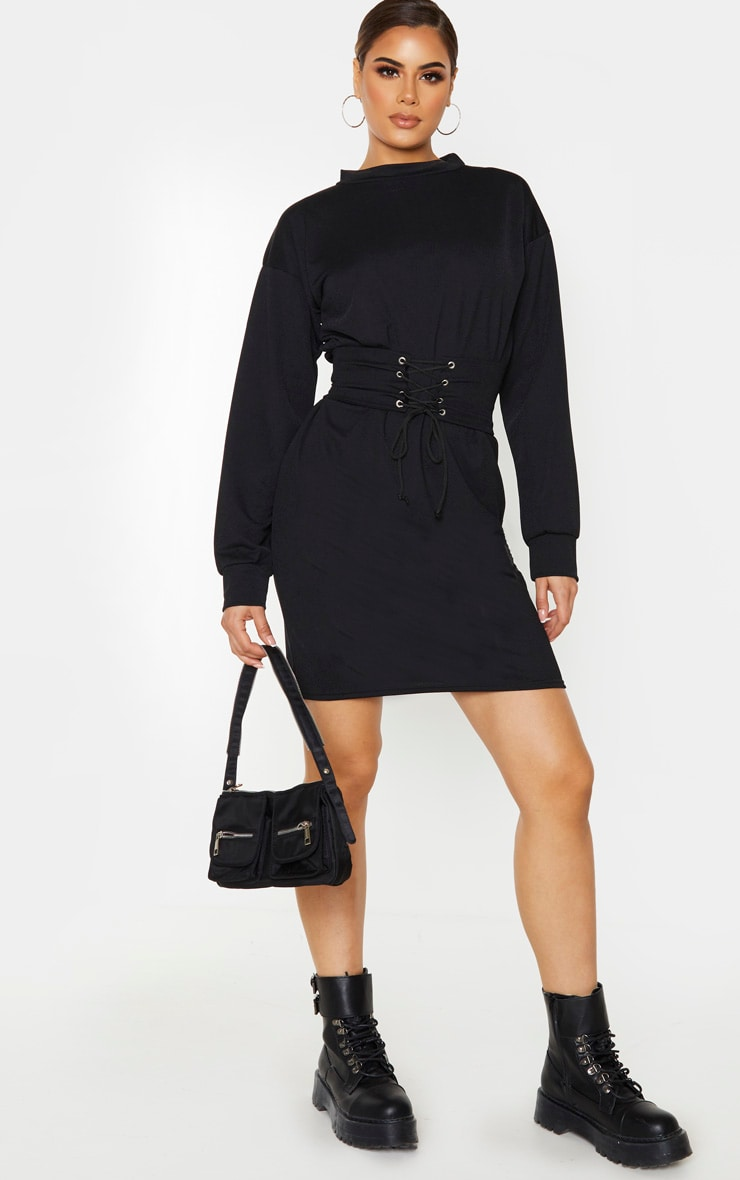 Tall Black Corset Detail Crepe Oversized Jumper Dress 4