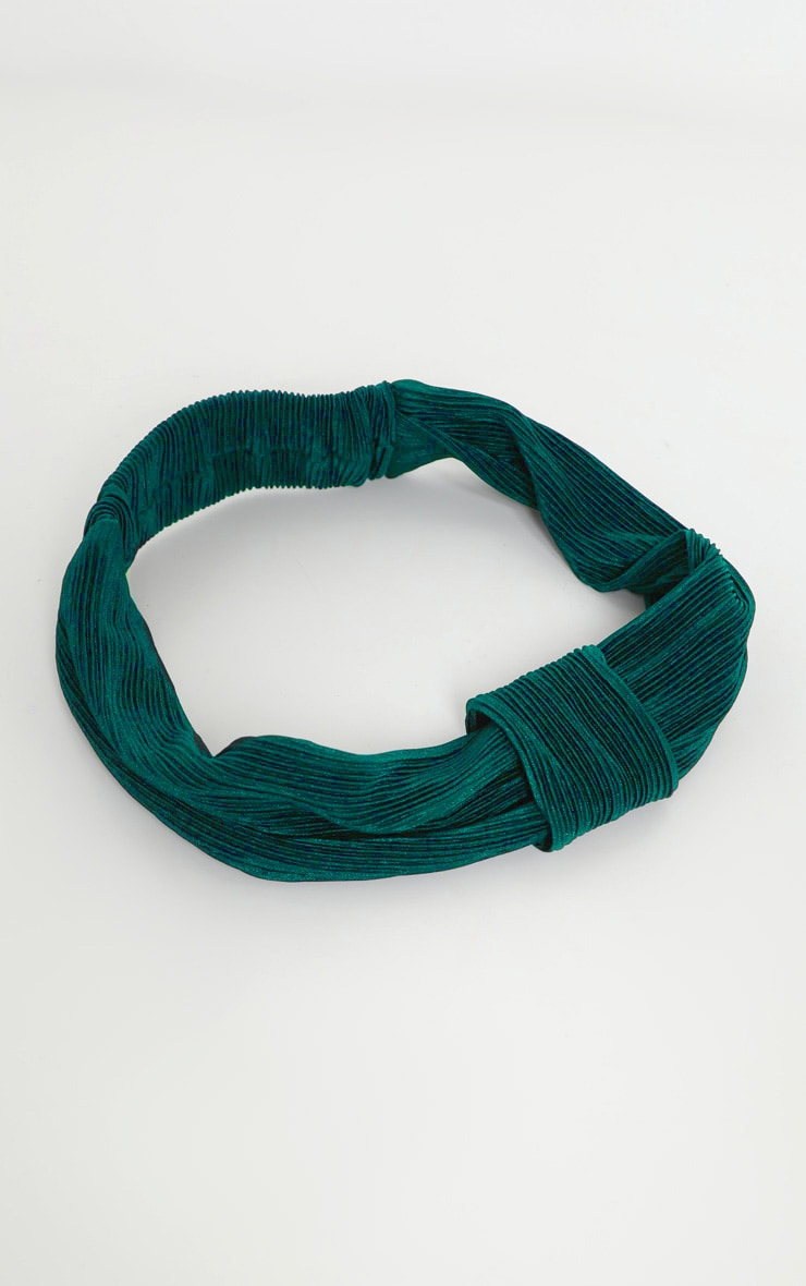 Green Pleated Wrap Headband 2