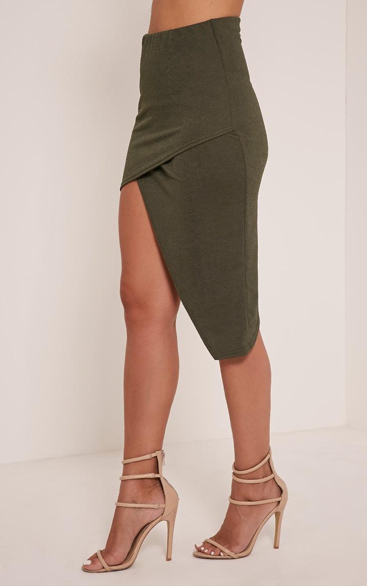 Caryn Khaki Asymmetric Hem Midi Skirt 4