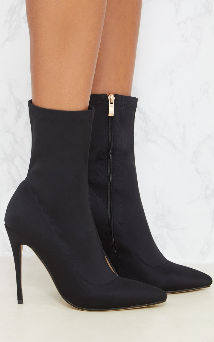 Black Lycra Sock Heeled Boot 4