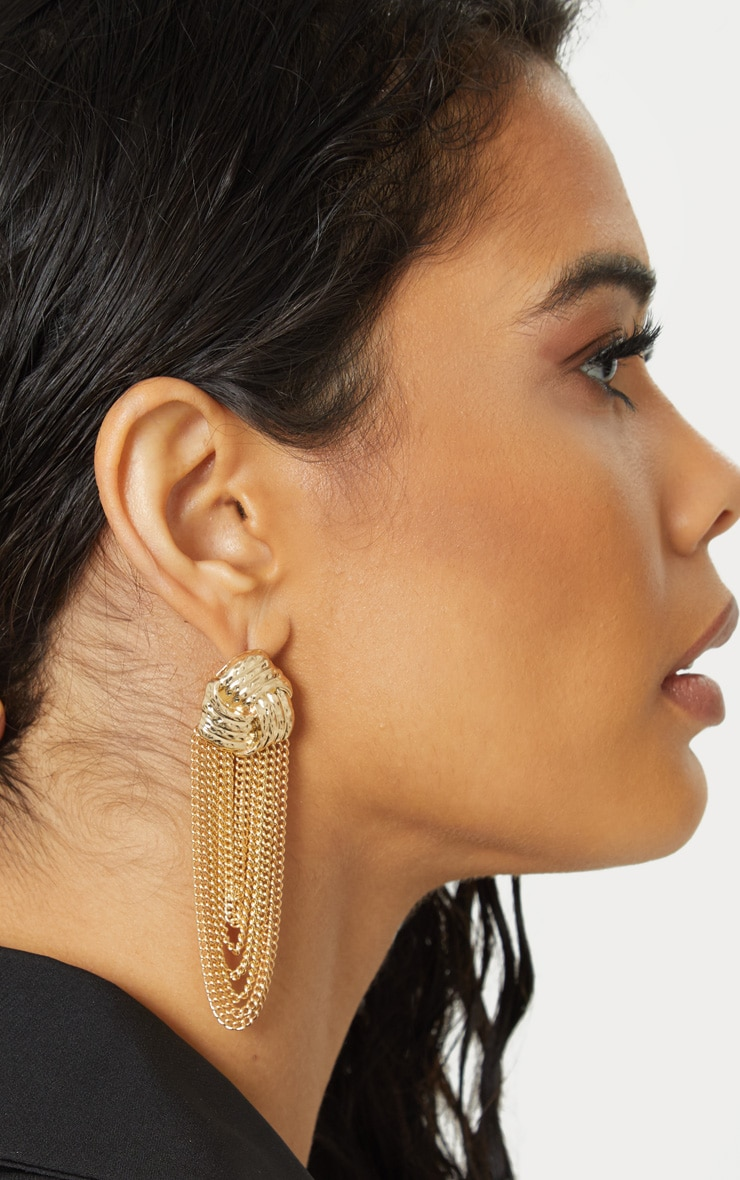 Gold Knotted Studs Chain Drop 1