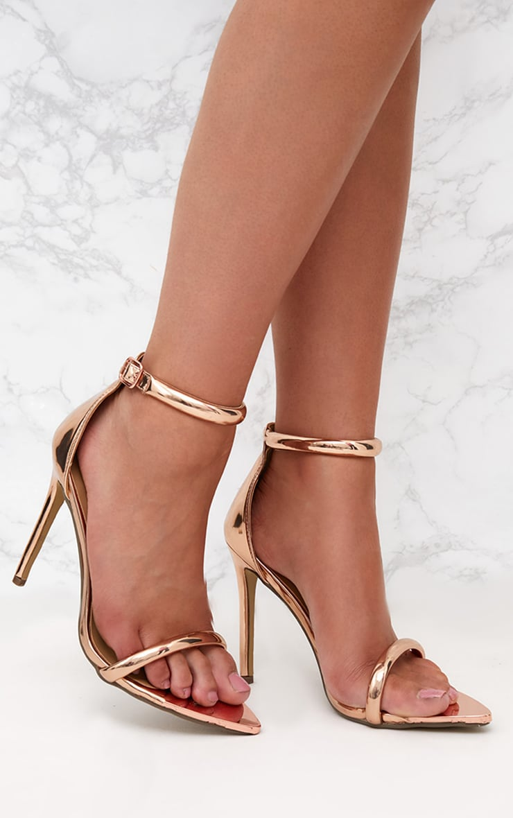 Rose Gold Pointed Toe Strappy Heels 1