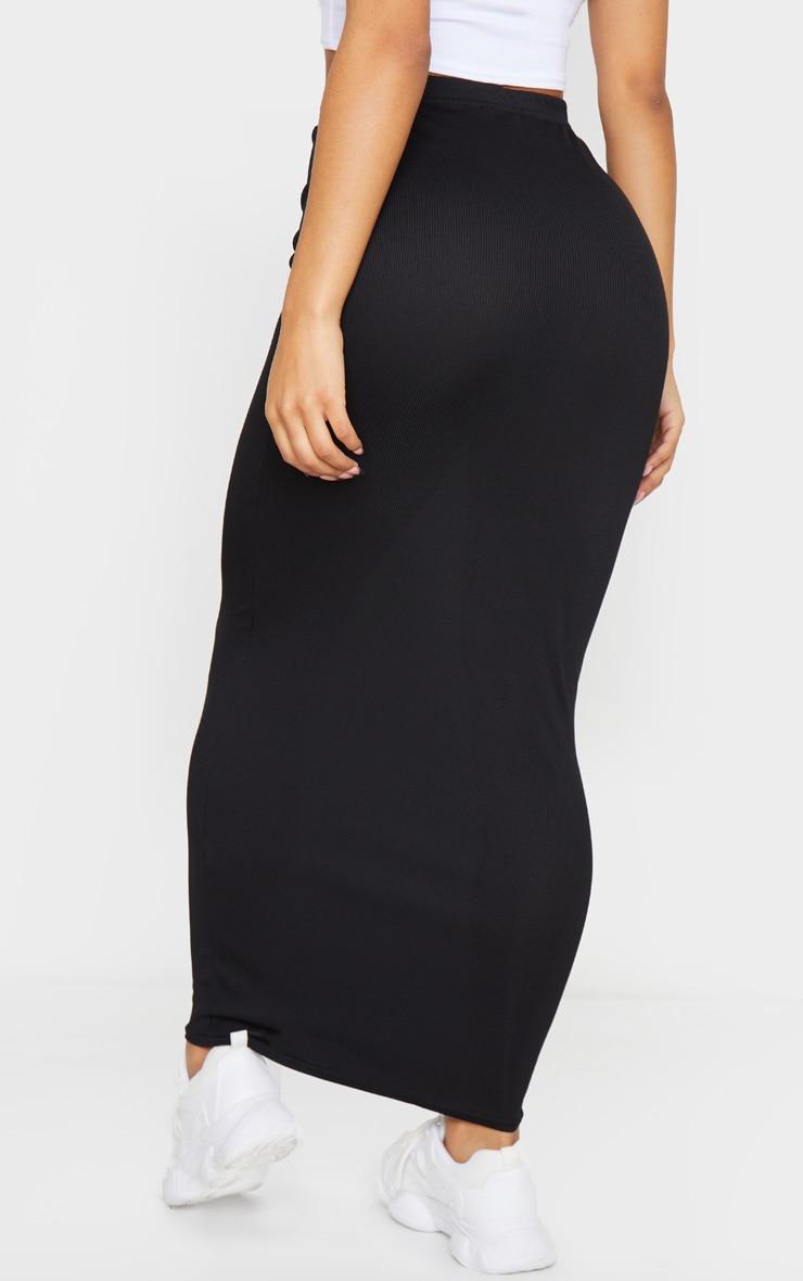 Black Rib Bodycon Midaxi Skirt 3