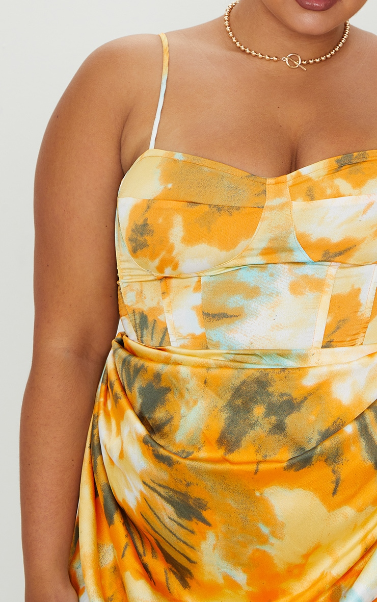 Plus Orange Tie Dye Print Structured Corset Top 4