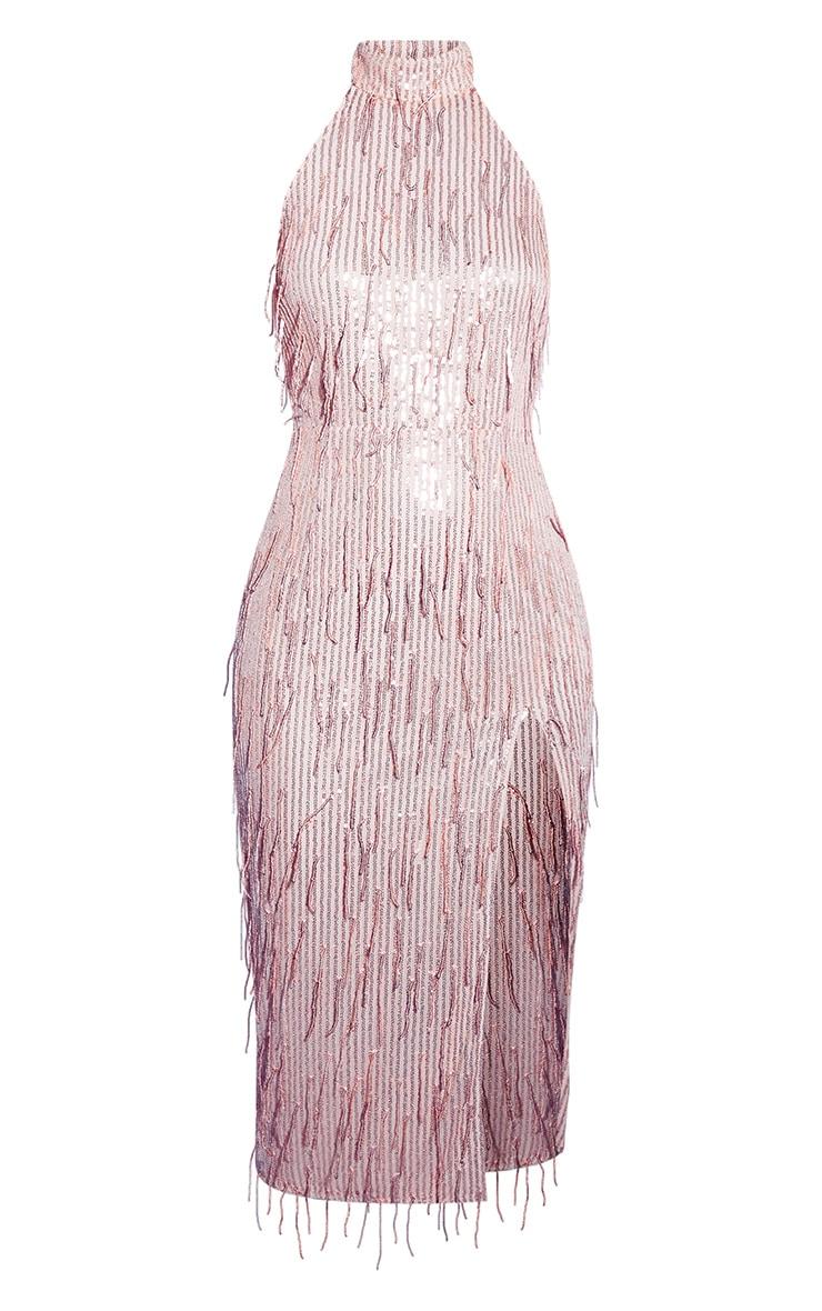 Rose Gold Premium Tassel Sequin High Neck Split Leg Midi Dress 5