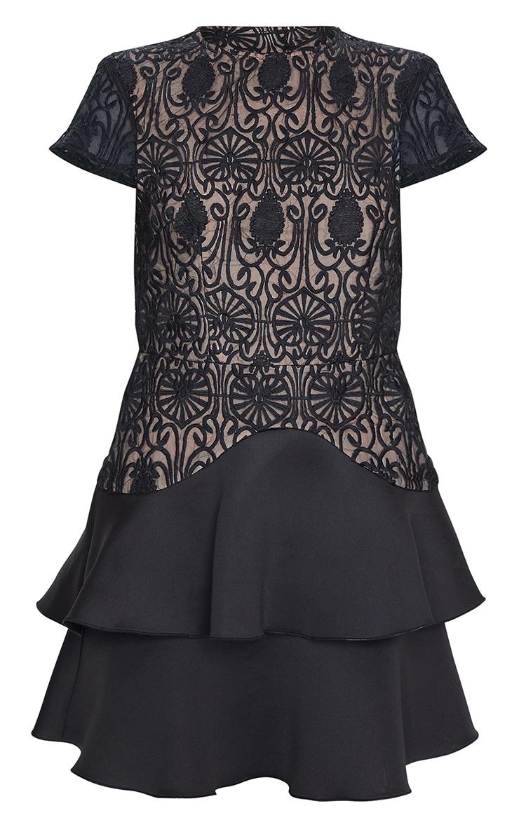 Black Embroidered Tiered Skirt Skater Dress 5