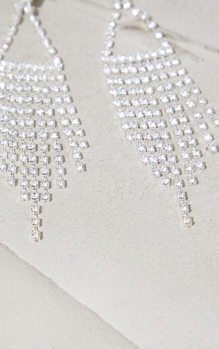 Silver Diamante Triangle Tassle Earrings 3