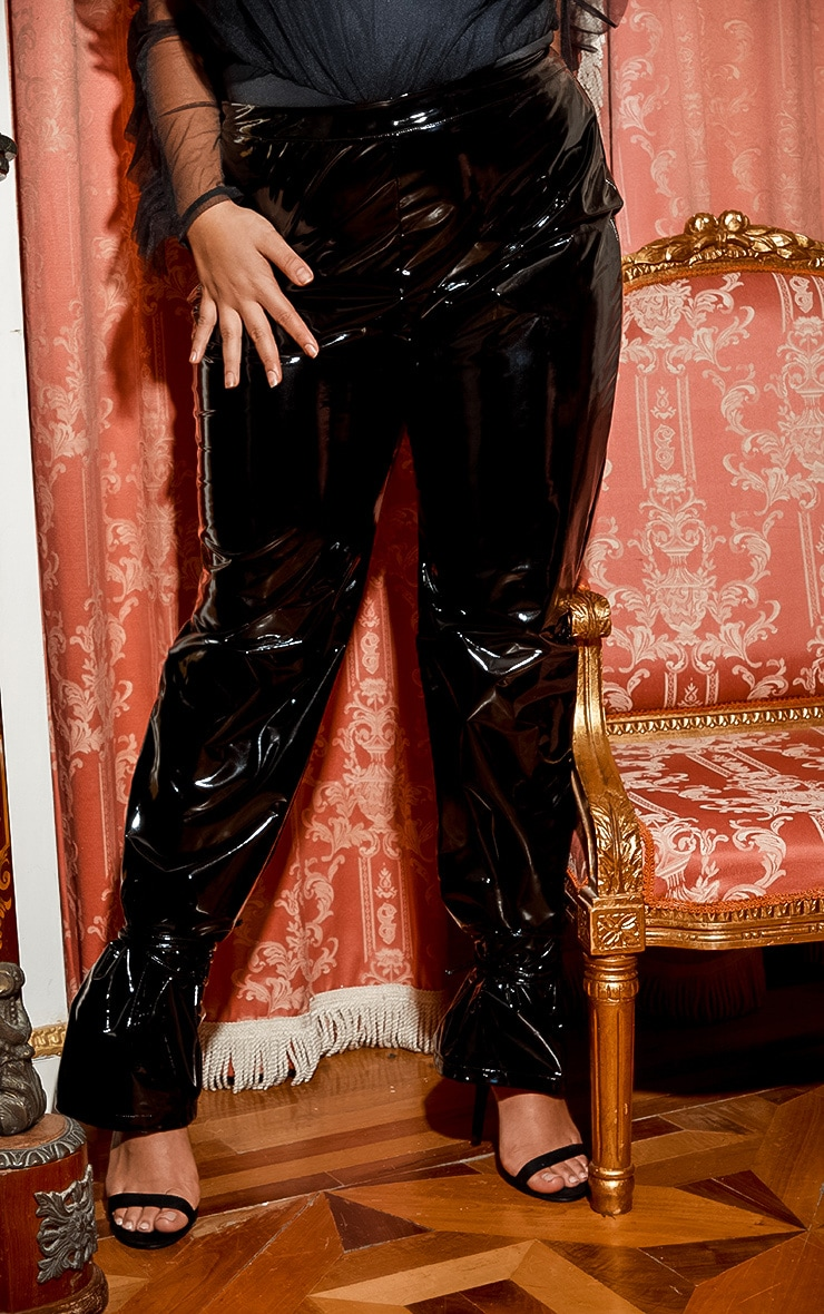 Plus Black Vinyl Lace Up Trouser 3