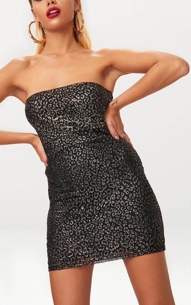 Black Glitter Leopard Bodycon Dress 5