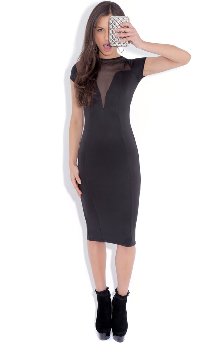 Whitney Black Mesh Panel Midi Dress 1