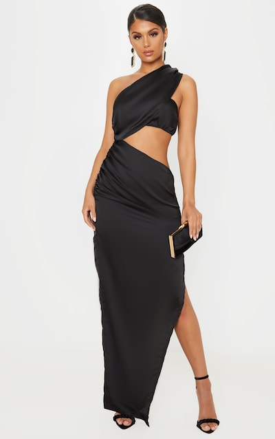 Black One Shoulder Cut Out Satin Maxi Dress