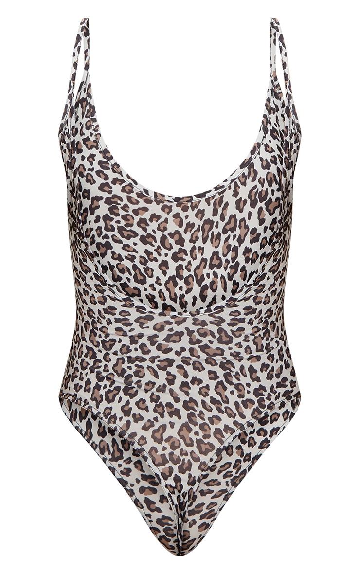 Grey Slinky Leopard Scoop Neck Thong Bodysuit  4