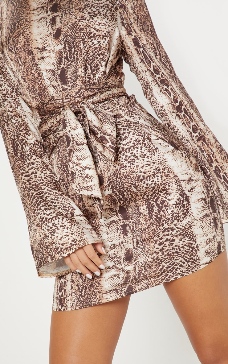 Tan Snake Print Satin High Neck Shift Dress 5