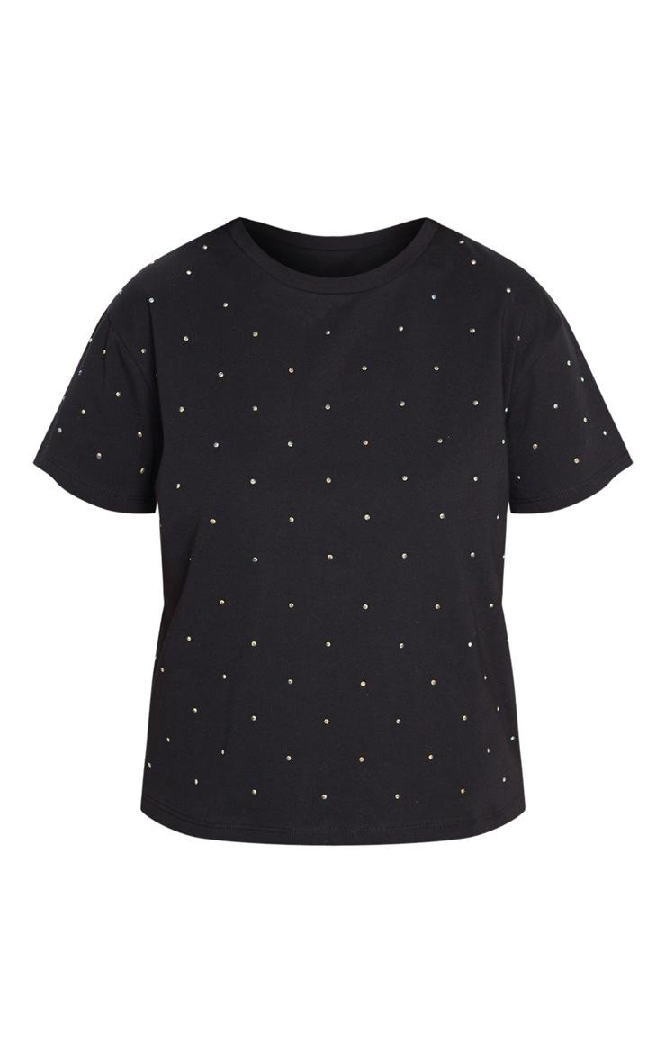 Petite Black Diamante T-Shirt 3