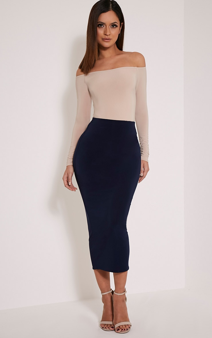 Steffany Navy Slinky Long Line Midi Skirt 1