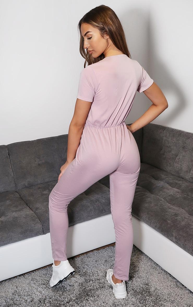 Dusty Pink Jersey Wrap Short Sleeve Jumpsuit 2