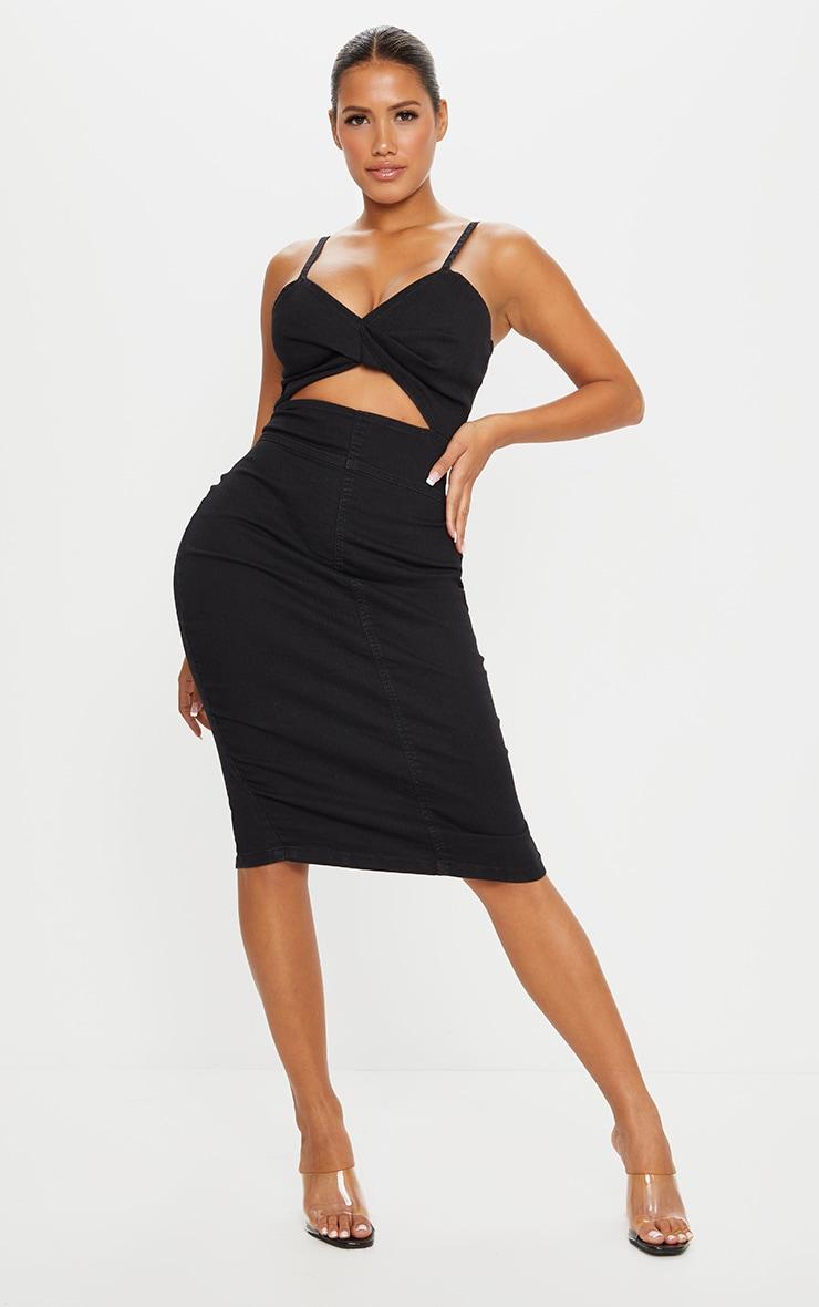 Shape Black Denim Twist Front Midi Dress