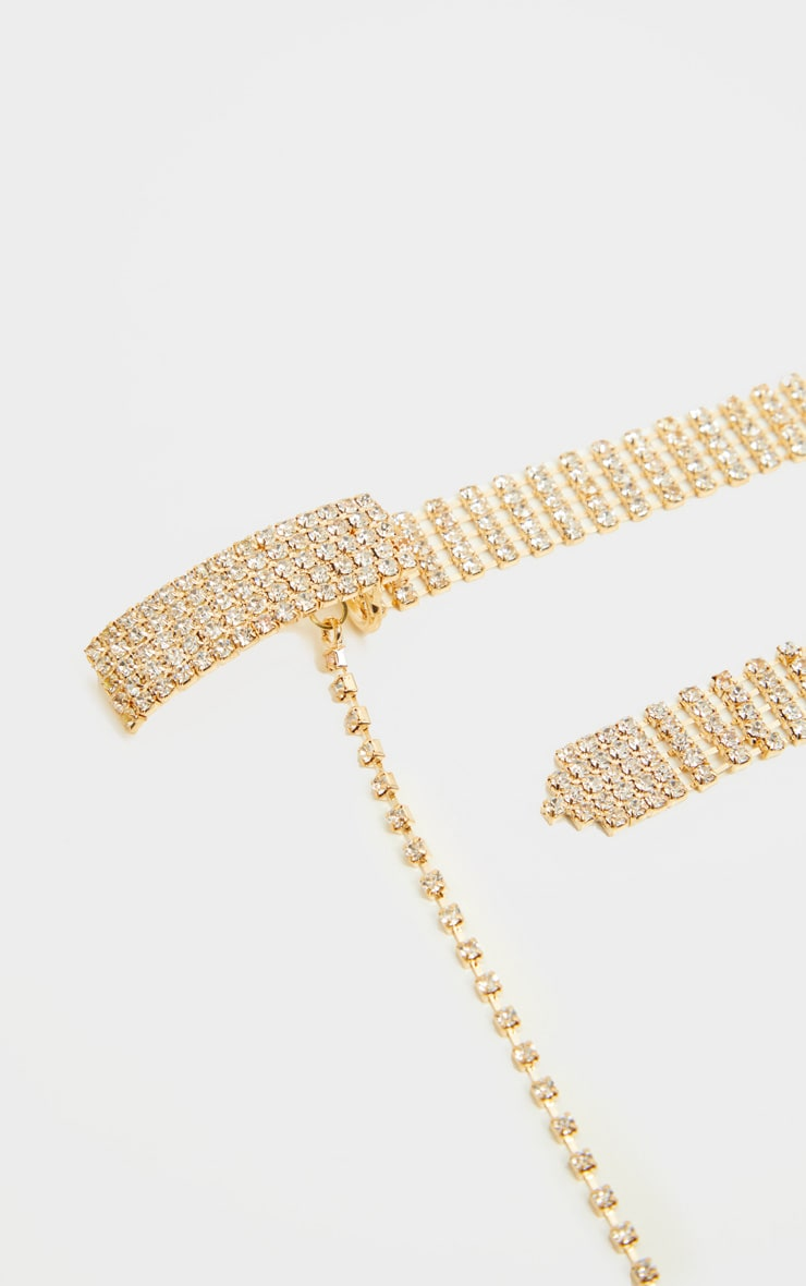 Gold Diamante Skinny Chain Belt 3