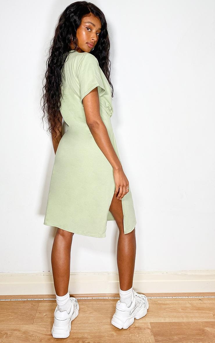 Sage Green Tie Waist Short Sleeve Midi T Shirt Dress 2