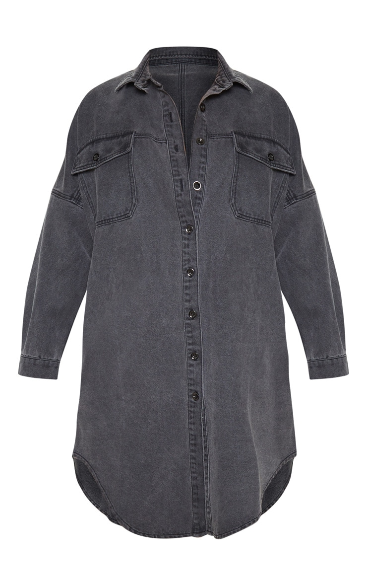 Washed Black Longline Oversized Denim Shirt 3