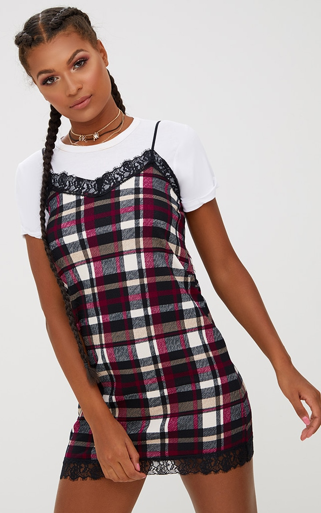 Black Check Eyelash Trim Shift Dress 3