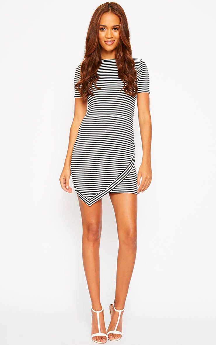 Eve Black Asymmetric Stripe Dress 3