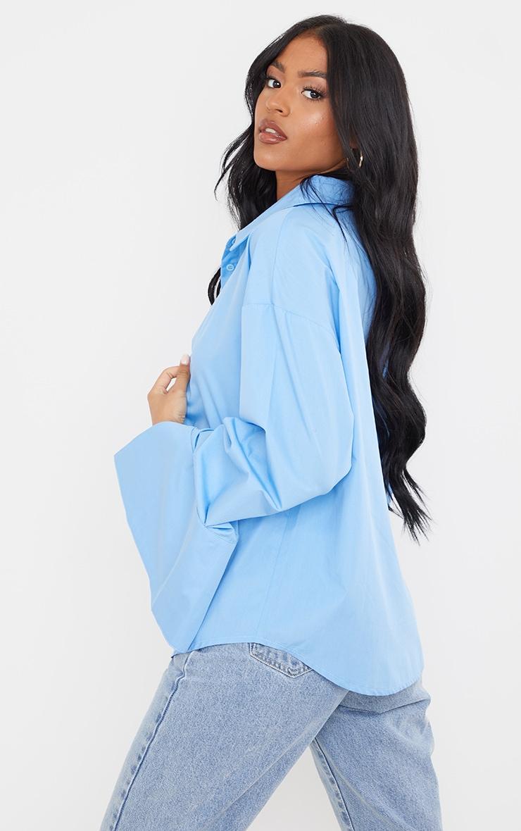 Tall Blue Cotton Oversized Shirt 2