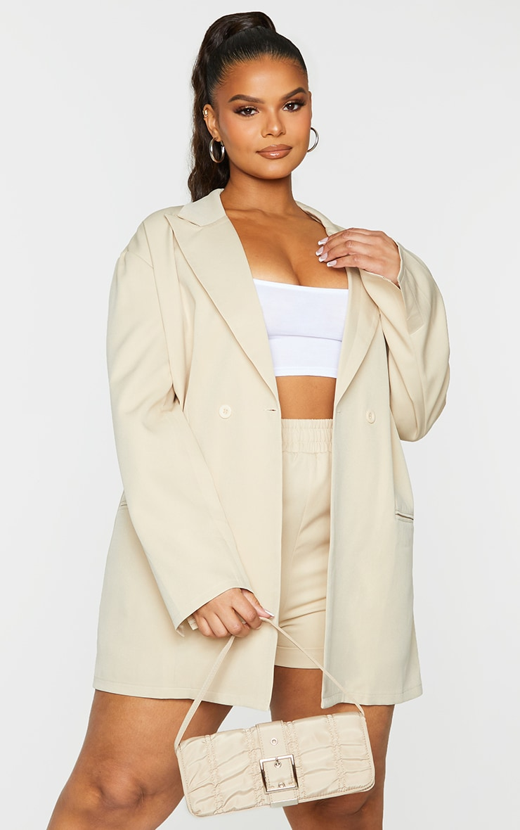 Plus Stone Relaxed Oversized Blazer 1