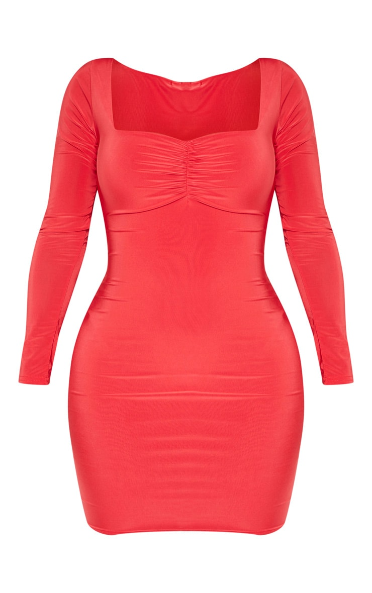 Shape Red Long Sleeve Slinky Ruched Bust Bodycon Dress 1