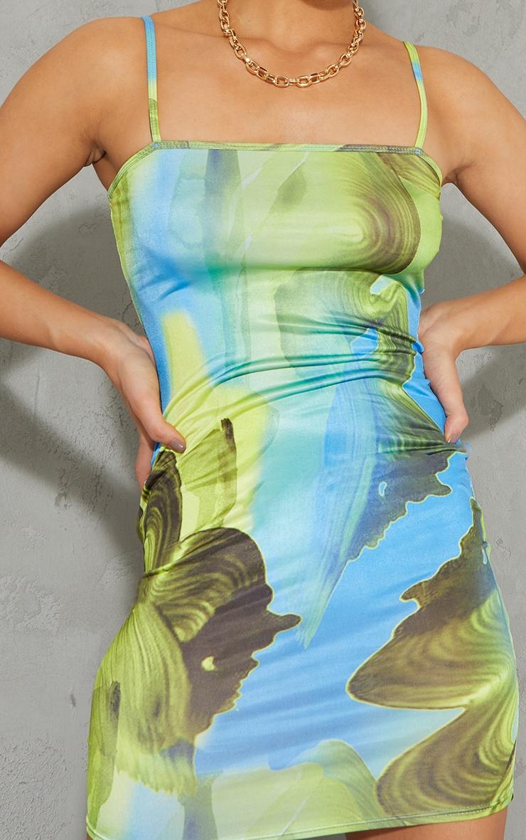 Robe moulante slinky bleu imprimé abstrait à bretelles fines 4
