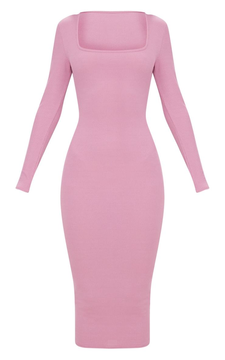 Dark Mauve Ribbed Long Sleeve Midaxi Dress 3