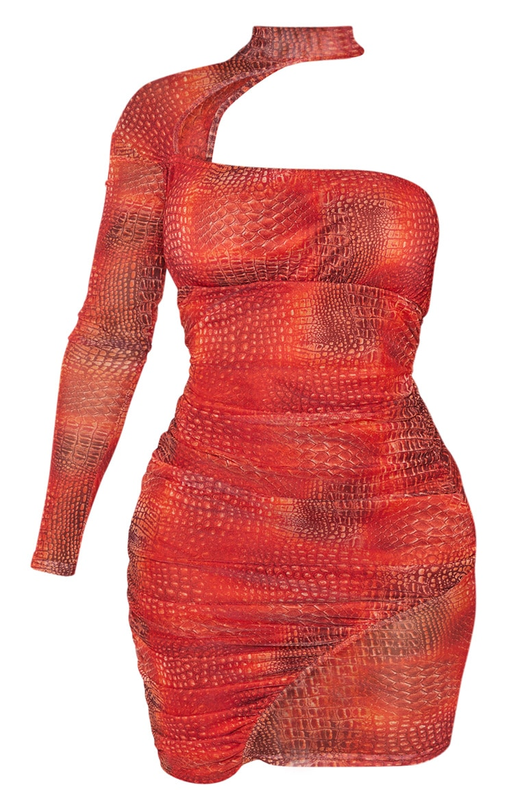 Shape Red Snake Print Mesh High Neck Cut Out Bodycon Dress 3