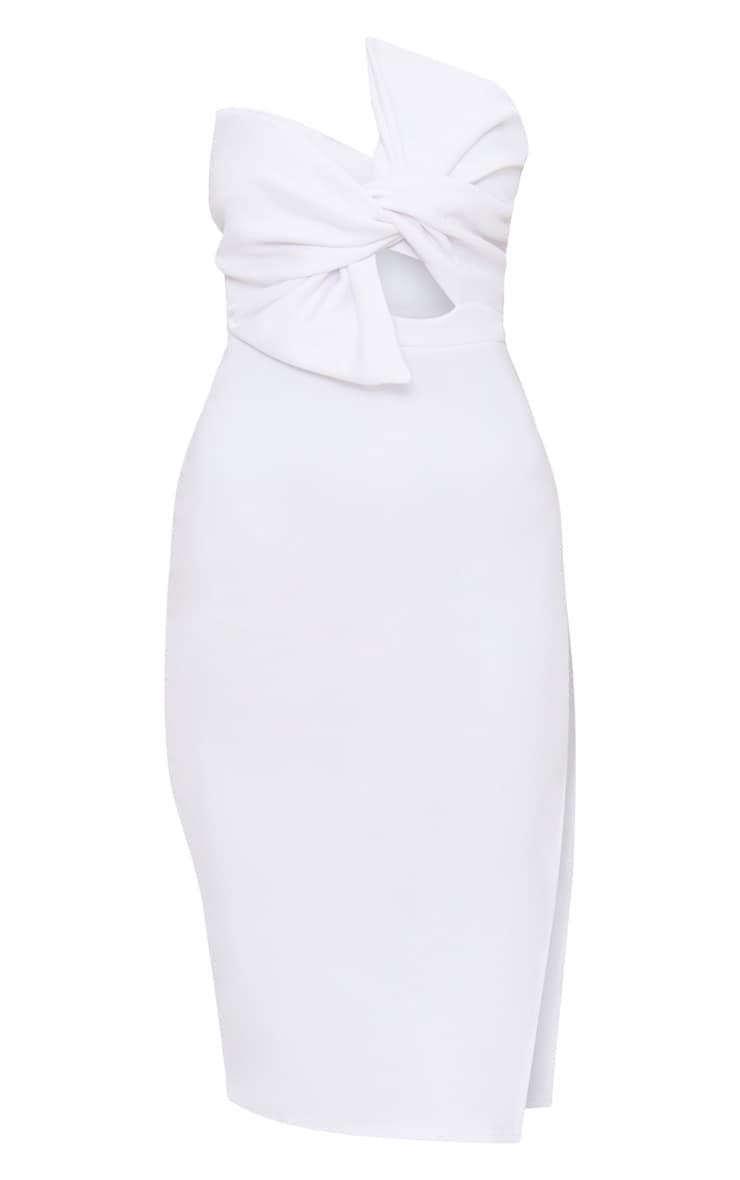 Elisse White Bow Detail Scuba Midi Dress 3