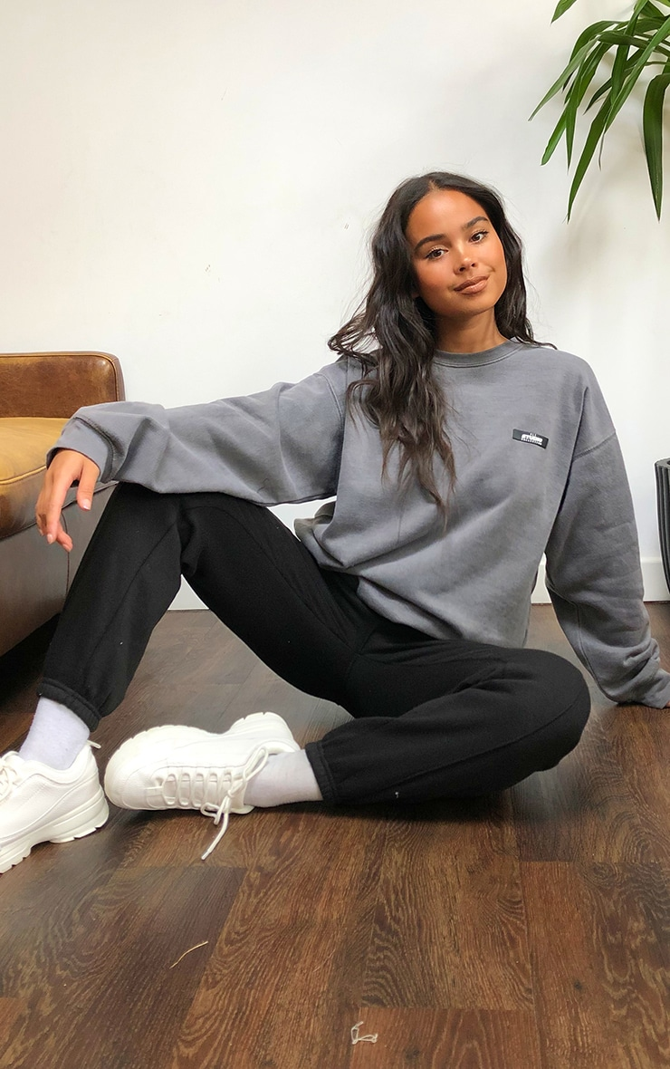 PRETTYLITTLETHING Grey Studio Washed Sweatshirt 3
