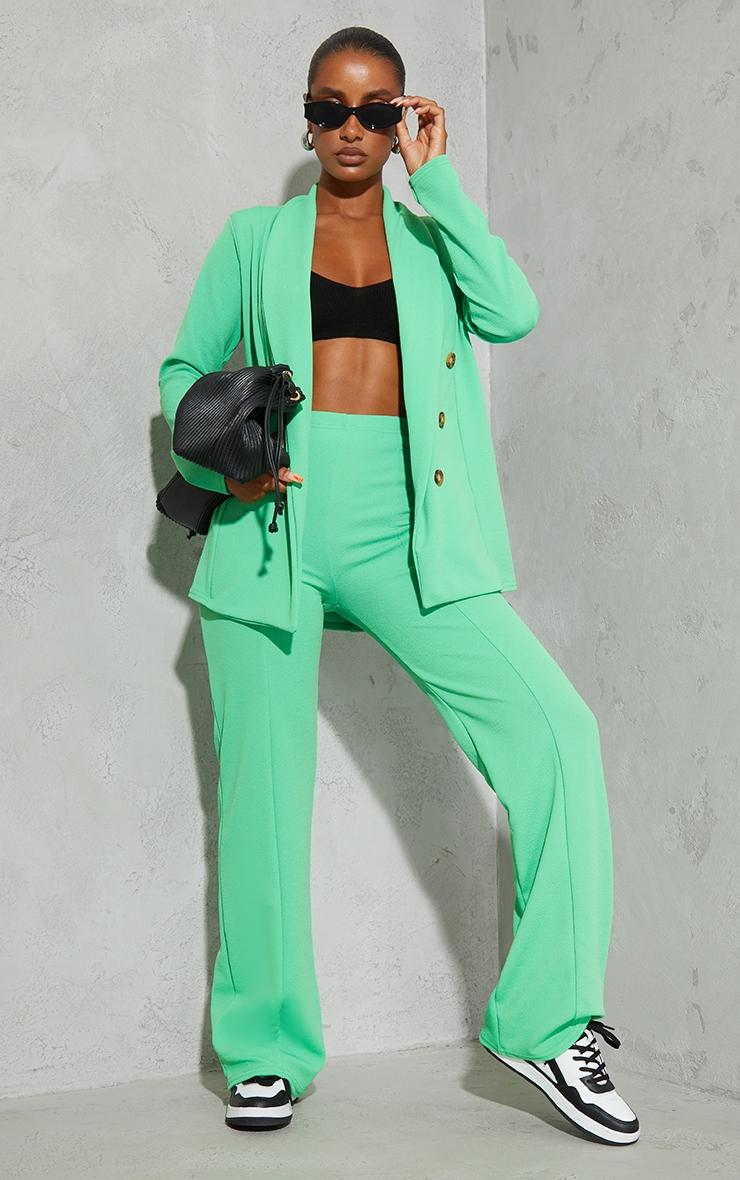 Bright Green Oversized Shoulder Pad Button Detail Blazer 3