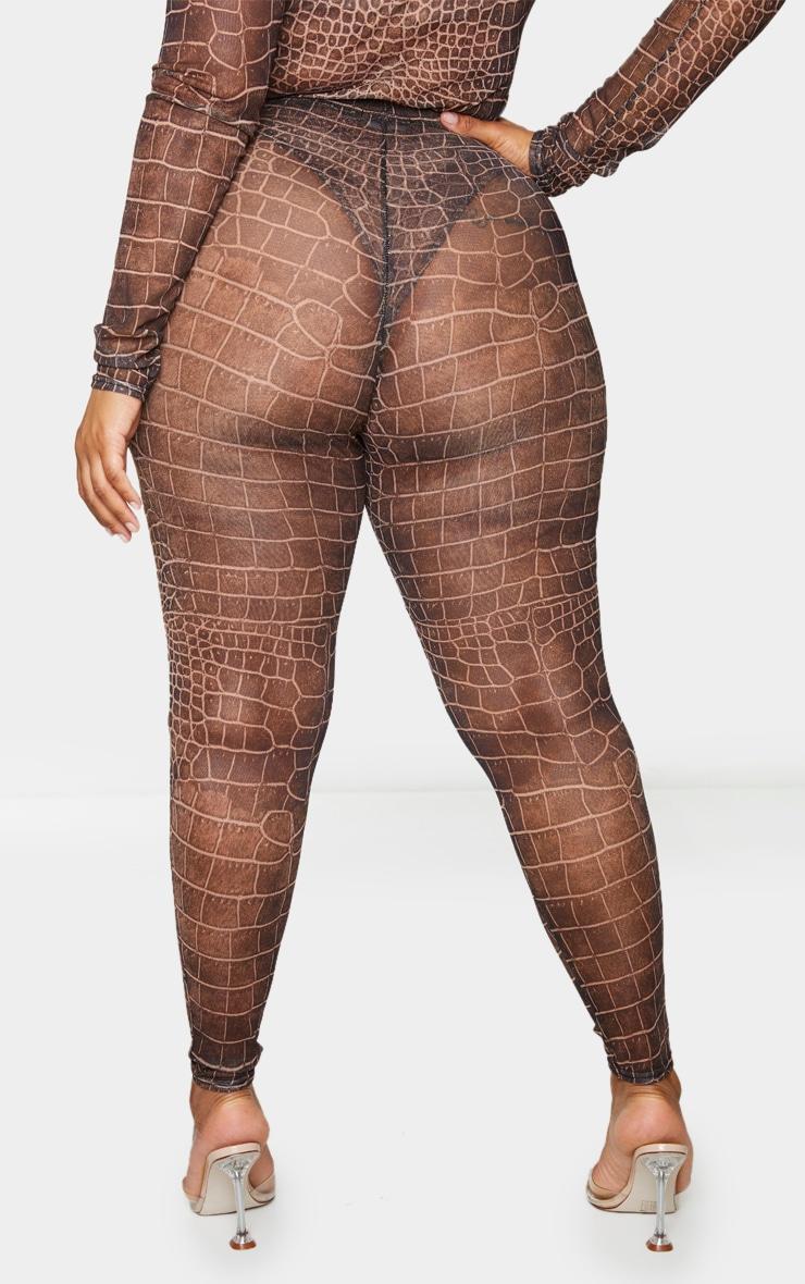 Plus Brown Croc Print Mesh Leggings 3