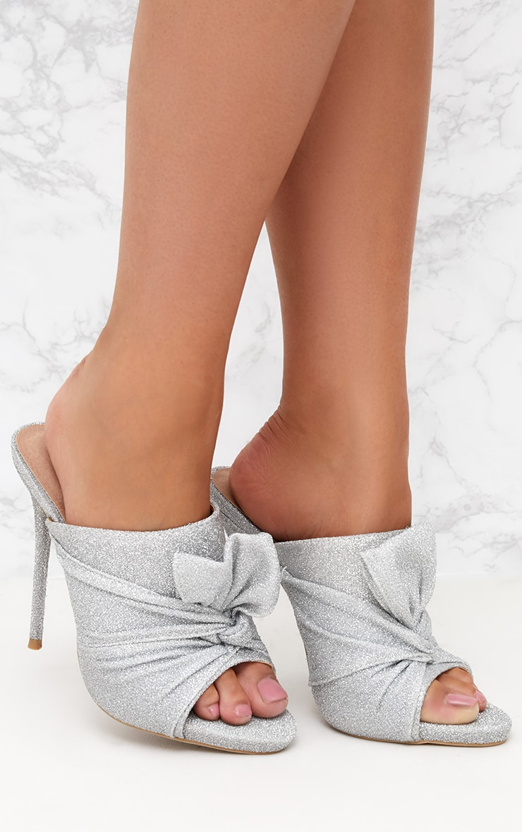 Glitter Bow Detail Black Heeled Mule 1