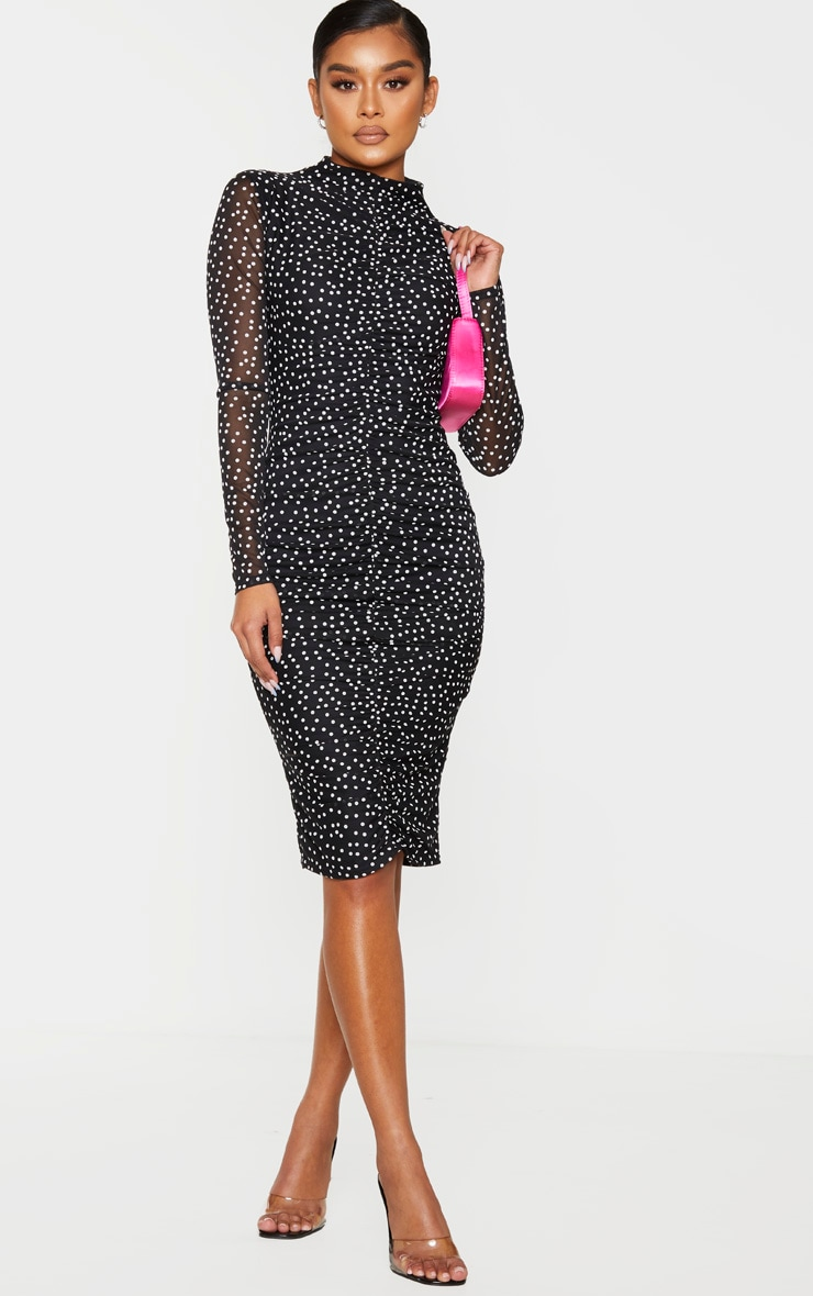 Black Polka Dot Print Ruched Mesh Midi Dress 1