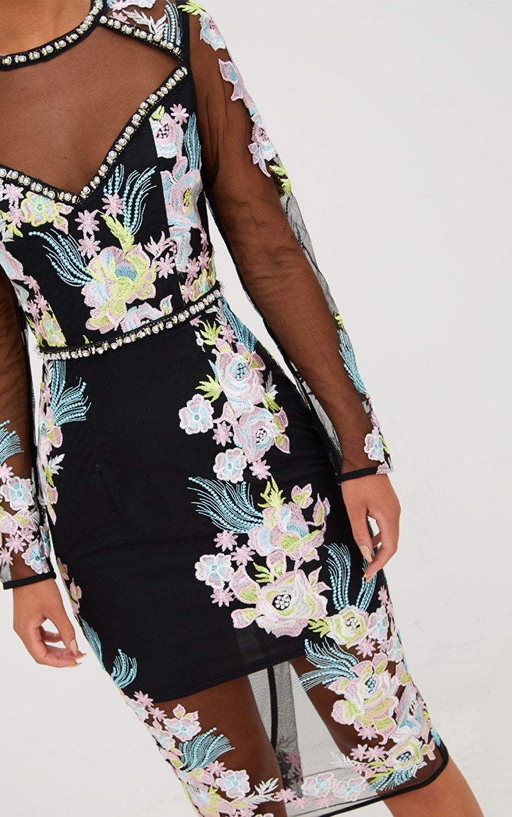Premium Black Embroidered Midi Dress 6